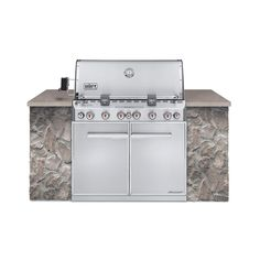 Weber Summit Built-In Natural Gas Grill in Stainless Steel with Grill Cover and Built-In - The Home Depot Stainless Steel Cabinets, Stainless Steel Grill, Home Depot, Natural Gas Bbq Grill, Kitchen Island Centerpiece, Outdoor Grill, Infrared Grills, Diy Grill, Propane Gas Grill