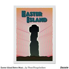 Easter Island Retro Moai Statue Poster Easter Island Moai, Easter Island Statues, Landscape Prints, Custom Posters, Corner Designs, Holiday Photos, Photographic Prints, Colours, Sunset