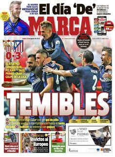 LIGA 2015-2016. En el segundo partido de liga, el Atlético gana por un contundente 0-3 al Sevilla. Goles de Koke, Gabi y Jakson Martinez.