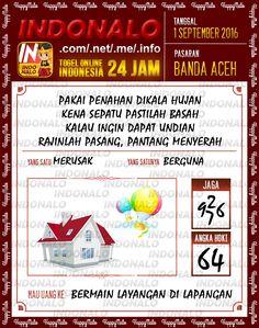 Bocoran Togel Wap Online Live Draw 4D Indonalo Banda Aceh 1 September 2016