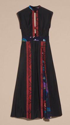 Black Silk Dress with Floral and Python Print Panels 4