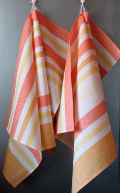 Linen Cotton Towels Dish Striped Yellow Orange by Initasworks, $15.90