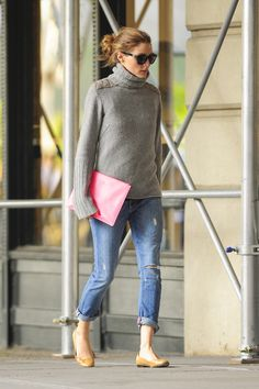OP. Distressed jeans and grey turtle neck.