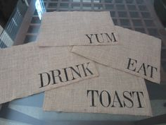 Burlap Stenciled Placemats (13) and it would be cute with holiday sayings or guest names or even as a gift to newlyweds with their last name.
