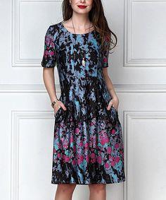 R&B Blue & Pink Floral Empire-Waist Dress - Plus Too | zulily