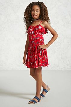cca35f5f3 Forever 21 Girls - A woven fit and flare dress featuring an allover floral  print