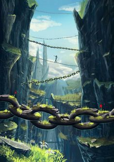 Valley of Chains - Digital Painting / Concept Art / Landscape / SciFi / Science Fiction / Other Planet / Future / Surreal / Mystic / Fantasy //♥ Fantasy Artwork, Fantasy Art Landscapes, Fantasy Concept Art, Fantasy Landscape, Digital Art Fantasy, Landscape Concept, Landscape Artwork, Dark Fantasy, Landscape Architecture