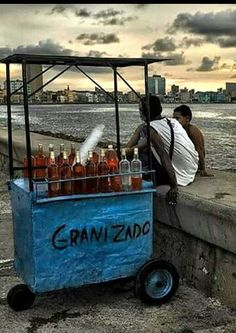 Havana Malecon, and Ice drink seller waiting for the buyers.