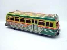 1950's Japanese Tin Friction Greyhound Lines World Bus