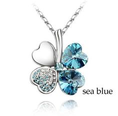 Four Leaf Clover  Necklace Sea Blue Crystal Pendant 18 k White Gold Plated