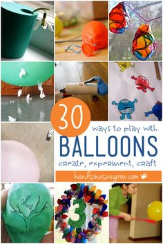Here are 30 ways to play with balloons through activities, art, experiments, and crafts! Balloons are fun all year round!