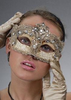 Champagne Gold Lace Masquerade Ball Mask