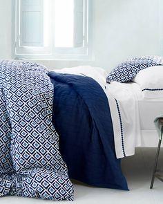 Geo Duvet Cover and Sham - royal navy blue geometric