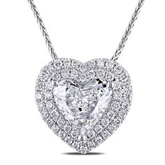 Miadora 14k White Gold 1 3/8ct TDW Diamond Heart Necklace (G-H, I1)