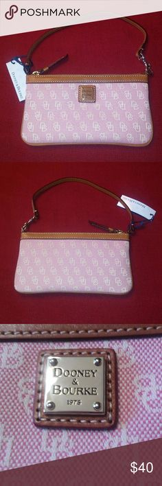 """Dooney & Bourke Wristlet Large Slim Bubble Gum New Online Information- Anniversary Collection  Large Slim Wristlet  L 8"""" W 0.75"""" H 4.5""""  Bubble Gum Dooney and Bourke Large Slim Wristlet, Anniversary.  Inside pocket. Adjustable handle. Handle drop length: 6.5""""  This was a gift thus the prices are marked off. There are slight markings on trim - minor but mentioning for your information.The wristlet handle is bent at the moment .  These do not affect the wristlet or detract from it but again…"""
