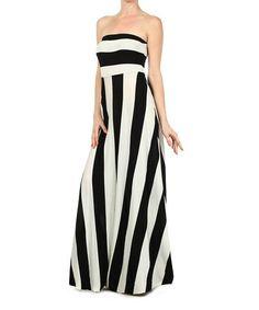 Loving this Black & White Stripe Strapless Maxi Dress on #zulily! #zulilyfinds