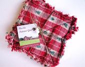 Rag Quilt Coaster Set, Homespun Christmas