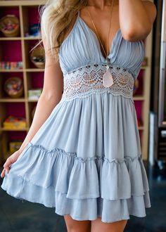 Baby Blue Short Crochet Trim Dress, Dress, Short Dress, Open Back Dress, Modern Vintage Boutique, Utah Boutique, Boutique, OOTD, Fashion, Style, Shopmvb