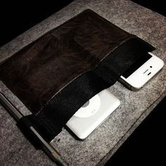 """Grey Felt with Dark Brown Leather Pocket for Macbook Air 11"""". $24.95"""