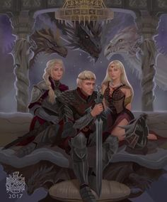 Aegon I Targaryen and his sisters Visenya and Rhaenys Targaryen