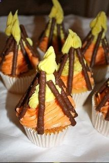 Oh I love idea of a Camping Theme for a boys sleep over. Campfire Cupcakes from THE CUP CAKE BLOG - Rugged Thug