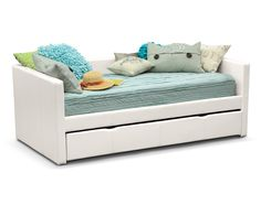 Perfect Match. The simple, contemporary design of the Carey White daybed collection ensures it will blend seamlessly into any room design. The ultimate in versatility, this daybed comes with a pull out trundle for extra sleeping space. Available in four color options, this daybed is a great addition to your child's room. The soft, durable upholstery with stylish accent stitching makes this daybed a must-have multipurpose piece.