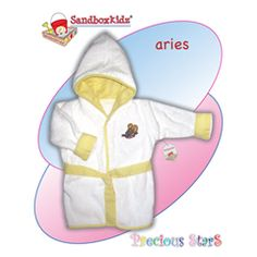 Terry hooded and belted bathrobe fits babies up to 12 months - embroidered with astrology sign #PreciousStar $21.99