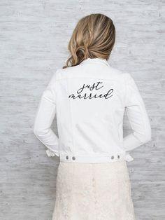 "White denim jacket for wedding - ""Just married"" jean jacket - See more bridal jackets on WeddingWire! Denim Wedding, Wedding Jacket, The Knot, Hailey Baldwin, Kim Kardashian, Custom Leather Jackets, Estilo Jeans, Embroidered Denim Jacket, Wedding Dress Accessories"