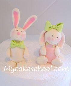 Cute Bunnies by Mycakeschool.com, via Flickr Fondant Rabbit, Fondant Dog, Fondant Animals, Fondant Toppers, Cupcake Toppers, Owl Cupcakes, Cupcake Cookies, Sugar Dough, Salt Dough