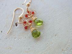 Peridot earrings 14Kgf earrings Wire work jewelry Leaf earrings Yellow green dangle earring green and red by QuietRobin on Etsy