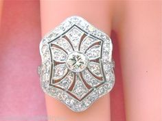 ESTATE EDWARDIAN to ART DECO 1.80ctw DIAMOND PLATINUM COCKTAIL RING in Jewelry & Watches, Vintage & Antique Jewelry, Fine, Art Nouveau/Art Deco 1895-1935, Rings | eBay