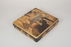 Writing Box with Design of a Cherry Tree and Waterfall Period: Edo period (1615–1868) Date: 19th century Culture: Japan Medium: Gold and silver maki-e on black lacquer