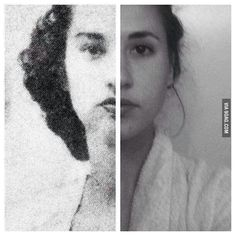 A woman and her grandmother both at the age of 20.