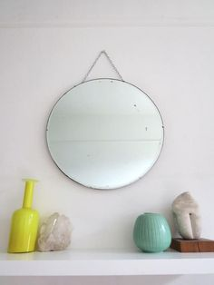 Vintage Round Art Deco Wall Mirror by uulipolli on Etsy