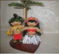 Aloha and Mana'o are wedding dolls, but, above all else, they are a symbol of Hawaii's great Aloha spirit. Aloha and Mana'o convey the beautiful passion and tender emotion of true love.