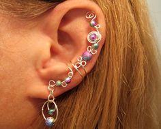 "Non Pierced Cartilage Cuff ""Galaxy"" Stardust Beads Ear Cuff Color Choices"