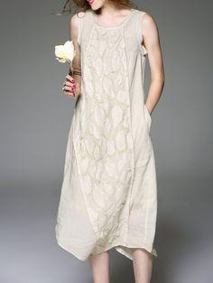 Apricot Crew Neck Sleeveless Midi Dress