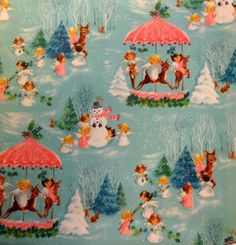 Vintage 1970's Hallmark Christmas Wrapping Paper, Pastel Snowman and Angels