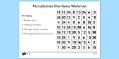 Multiplication Dice Game Worksheet - multiplication dice game, numeracy dice…