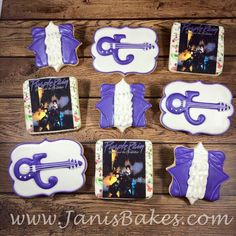 Cookies for a Purple Rain party. My favorite set so far! Prince Party Theme, Prince Birthday Party, 40th Birthday, Birthday Party Themes, Birthday Ideas, Rain Baby Showers, Artist Cake, Prince Cake, The Artist Prince