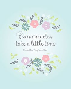 Even Miracles Take A Little Time  Cinderella Quote  by akmo, $5.00 #miracles #cinderella #etsy                                                                                                                                                                                 Más