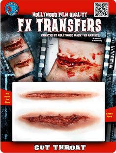 2 fantastic Cut Throat transfers that look completely realistic. Just add some of your favourite blood to complete a gory look