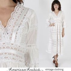 eBay - $198 - Vintage-70s-Mexican-Wedding-Dress-White-Floral-Sheer-Lace-Cocktail-Boho-Maxi-S