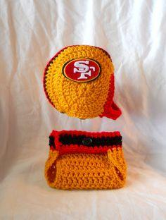 San Francisco 49ers Inspired Baby Football Helmet Hat by CDBSTUDIO, $36.99