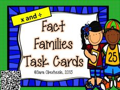 FREEBIE!!  16 fact family task cards to help your kids with learning the relationship between multiplication and division.