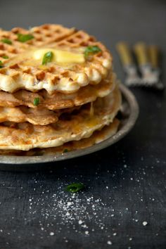 Yummy recipe - Savory spring onion and pancetta waffles