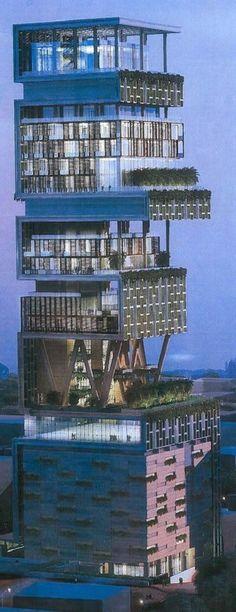 Antilia Building ...the house.. of.. India's richest.. man...mukesh Ambani...in  Mumbai...near..hanging garden...~rishita.surve Follow Me Rishita Surve•̀.̫•́✧