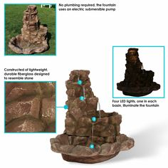 Sunnydaze Lighted Stone Springs Outdoor Water Fountain Outside Fountains, Backyard Water Fountains, Fire Pit Backyard, Mini Waterfall, Waterfall Fountain, Solar Powered Fountain Pump, Outdoor Waterfalls, Rock Fountain, Waterfall Features