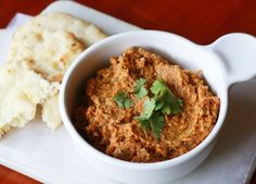 Sun-dried Tomato + Cilantro Hummus #food
