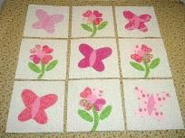 Set of 9 Pink Flowers and Butterflies Quilt Top Blocks  ...Free Shipping...